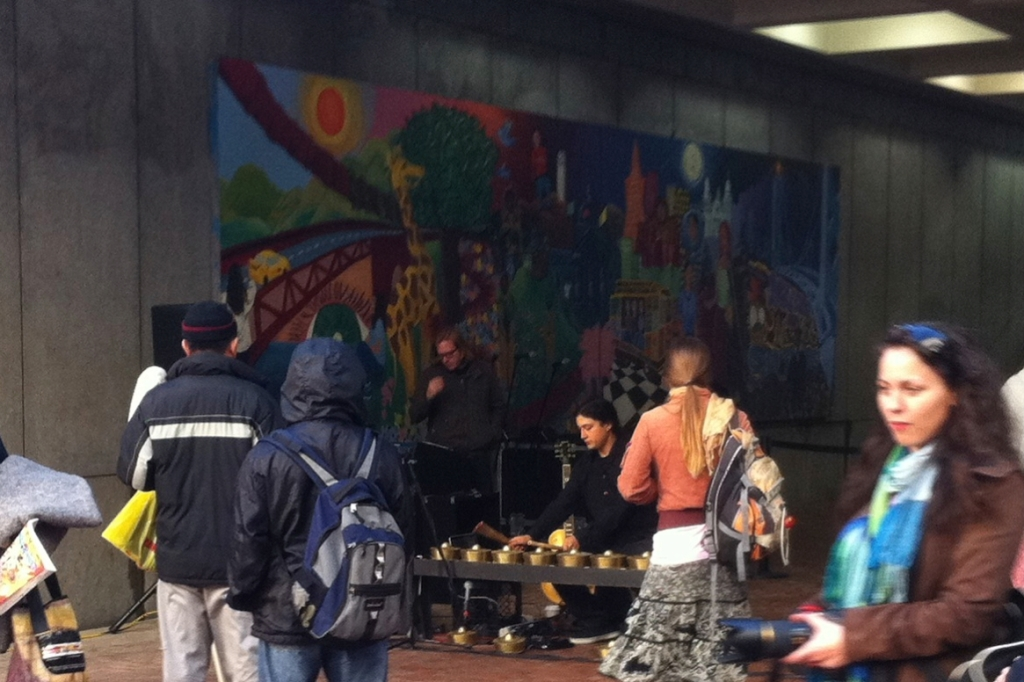 Performing Kulintang in the middle of Powell BART's Hallidie Plaza